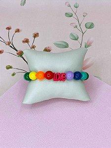 Pulseira LOVE com bolas coloridas - laranja, roxo, verde ou rosa