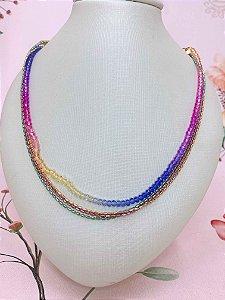 Colar Rainbow com fios coloridos
