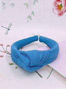 Arco nó em tecido canelado - verde tiffany, azul, branco, laranja ou lilás.
