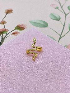 Piercing fake dourado de cobra com strass