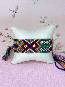Pulseira artesanal colorida - verde, rosa, verde tiffany ou amarelo