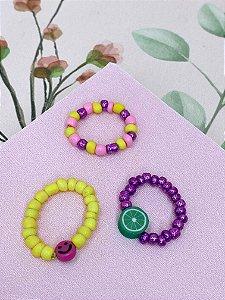 Anel kit miçangas e pingentes - cores variadas