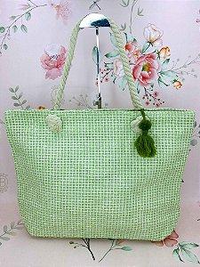 Bolsa praia bege trançada com chaveiro tassel- bege ou verde