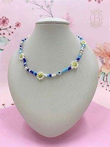 Colar miçangas coloridas,pérolas ,smile e olho grego - colorido, azul ou azul com rosa