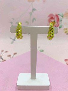 Brinco Ear Hook dourado e colorido - amarelo neon, roxo, rosa ou azul claro