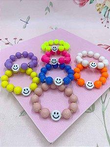 Pulseira Smile com bolas maiores coloridas - cores variadas