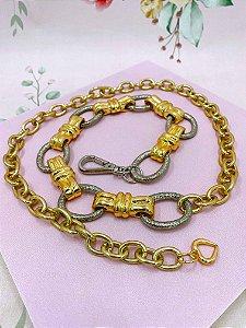 Cinto Elos dourados e prata com detalhes