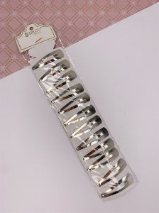 Kit com 12 presilhas tic tac - prata grande