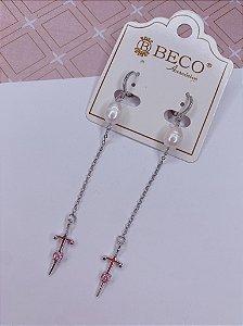 Argolinha Pérola e Cruz Longa - prata