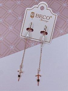 Argolinha Pérola e Cruz Longa - dourada