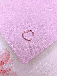 Piercing Fake de coração rosa metalizado