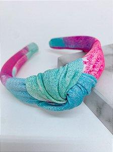 Arco nó tie dye - rosa, azul e lilás