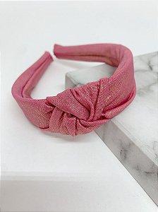 Arco nó tecido holográfico - rosa