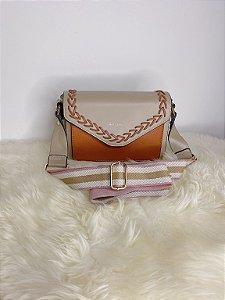 Bolsa pequna com alça de tecido - marrom