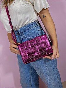 Bolsa trançada - rosa metálica