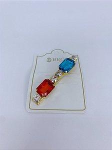 Presilha pedras - vermelho e azul