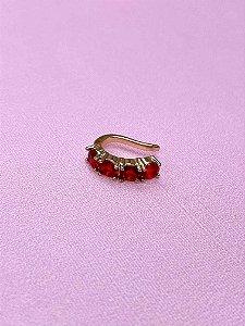 Piercing Fake dourado com pedras - colorido,rosê,verde,vermelho ou bege