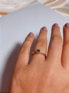 Anel solitário - pedra verde