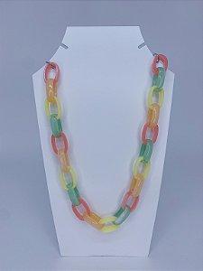 Colar elos grandes de acrílico - candy color