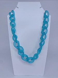 Colar elos de acrílico transparente - azul