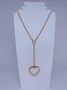 Corrente gravatinha com pingente de coração -dourada