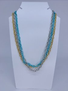 Corrente trio - azul, prata e dourado