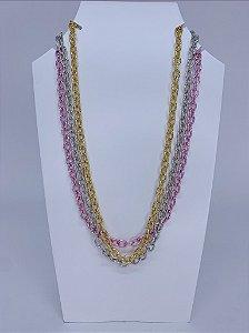 Corrente trio - rosa, prata e dourado
