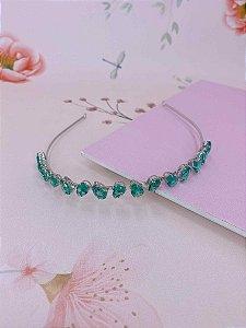 Arco metal prata com pedras em gotas - verde , rosa ou colorido
