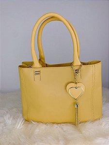 Bolsa íris com chaveiro de coração - amarela