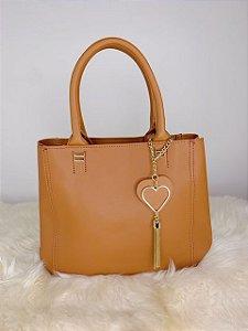 Bolsa íris com chaveiro de coração - marrom