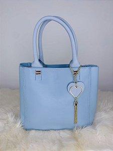 Bolsa íris com chaveiro de coração -azul