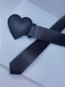 Cinto coração - preto fosco