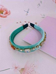 Arco Veludo verde tiffany e pedrinhas coloridas