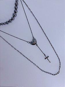 Mix de colar com pingente de coração com Divino e cruz