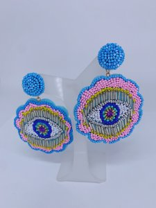 Brinco olho grego de miçangas azul