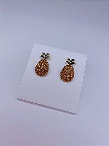 Brinco abacaxi delicado com stras