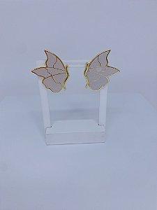 Brinco de borboleta esmaltada - off white com leve brilhos