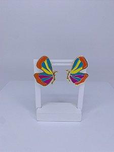 Brinco de borboleta esmaltada - laranja, amarelo, roxo e verde