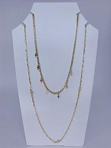 Mix duplo de colares individuais com pingente de cruz - dourado