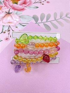 Kit pulseira colorida transparente com frutinhas