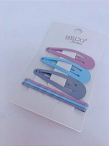 Kit presilha, tic-tac e grampo - lilas, azul e cinza