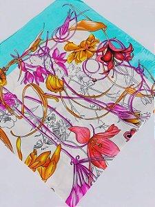 Lenço floral verde tiffany