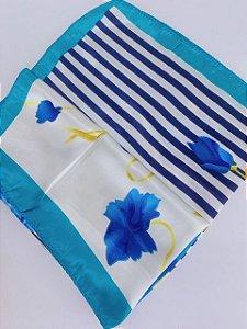 Lenço flores e listras azul claro
