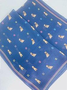 Lenço azul marinho com estampa de cachorrinhos