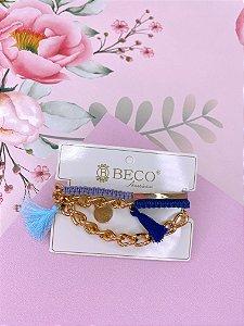 Pulseira ou colar de tassel azul e lilás