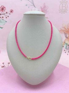 Colar fino com elos quadrados - rosa pink