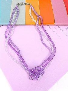 Colar miçangas cristais transparentes roxo