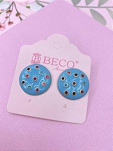 Brinco botão esmaltado com strass colorido - azul