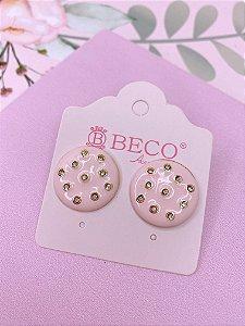 Brinco botão esmaltado com strass - rosa claro