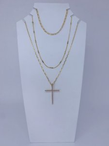 Mix colar com pingente cruz de strass